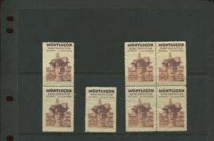 7 VINTAGE 1929 FRANCE FIORE EXPOSITION MONTLUCON MAY-JUNE  POSTER STAMPS (L1164)