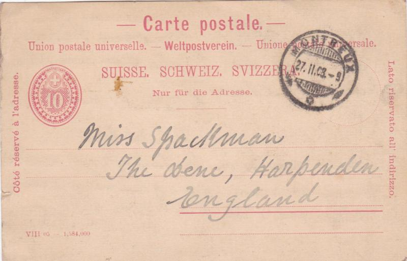 Switzerland 1908 Montreux to England Postcard used VGC