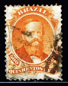 BRAZIL STAMP 1866 Emperor Dom Pedro - White Wove Paper 500R ORANGE USED STAMP