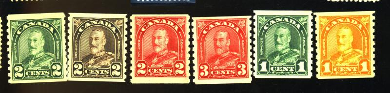 Canada #178-83 MINT F-VF OG 178, 180, 183 NH Rest LH Cat$124