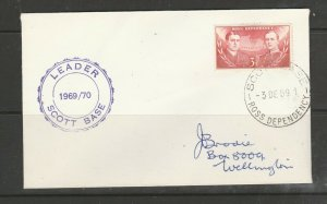 Ross dependency 1969 Cover to NZ, with Leader cachet, 3c Def cancelled Scott Bas