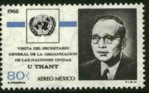 MEXICO C316, Visit of U Thant Secr General the U Nations MINT, NH. VF.