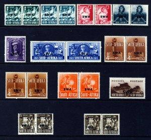 SOUTH WEST AFRICA 1941-43 War Effort Set Optd SWA SG 114 to SG 122 MINT