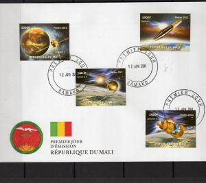 Mali 2011 50th.Anniv.Sputnik I/II Set (4) Imperforated FDC