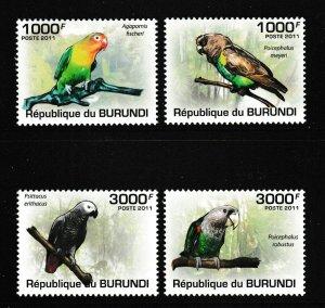 Burundi MNH 872-5 Birds Parrots 2011 SCV 13.00