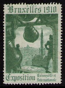 BELGIUM BRUXELLES 1910 EXPOSITION UNIVERSELLE VF NO GUM POSTER STAMP CINDERELLA