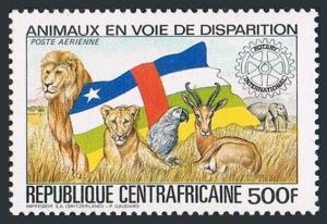 Central Africa C292,MNH. Endangered animals 1983.Lion,Parrot,Antelope,Elephant.