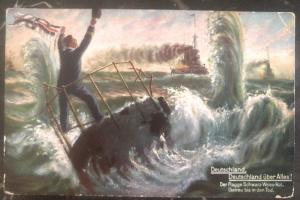 1910s Germany Navy Post Office Picture Postcard Cover U Boat Submarine above all