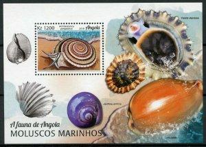 Angola Seashells Stamps 2018 MNH Marine Molluscs Sea Shells 1v M/S