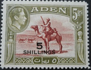 Aden 1951 GVI Five Shillings opt SG 45 mint