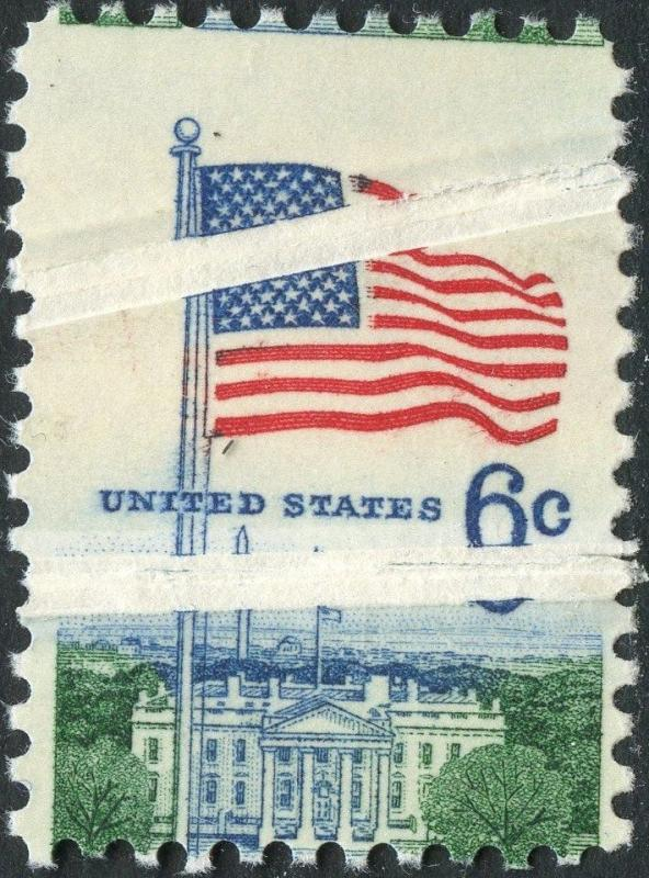 #1338 VAR. FLAG OVER WHITEHOUSE DOUBLE PRE-PRINT PAPER FOLD MAJOR ERROR BN4877