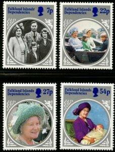 FALKLAND DEP. Sc#1L92-96 1985 Queen Mother Life & Times Cpl Set & S/S MH