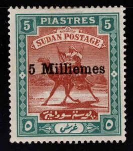 SUDAN Scott 28 MH* Camel mail stamp with 5 Milliemes surcharge