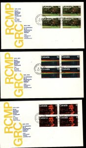 Canada-Sc#612-4-stamps on FDC-set in blocks-RCMP-Police-1973-