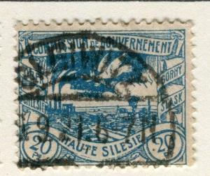 GERMANY;  UPPER SILESIA 1920 Mar. Coal Mine issue fine used 20pf. value