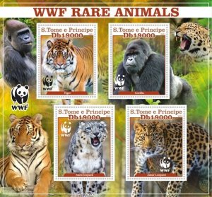 Stamps. Fauna WWF Set 2 sheet perforated Tiger, Leopard,key,Monkey, Elephant