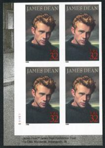#3082a JAMES DEAN PLATE NO. BLOCK OF 4 WITH IMPERF MAJOR ERROR BT9693