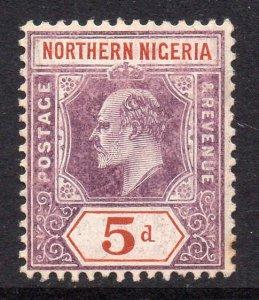 Northern Nigeria 1905 EDVII 5d chalk paper wmk MCCA SG 24a mint CV £38