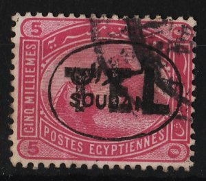 Sudan 1897 Ovpt 'TEL' on overprinted Egyptian stamps 5m (1/5) USED
