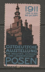 Cinderella revenue fiscal stamp 9-9-56 Poland Posen 1911 Germany