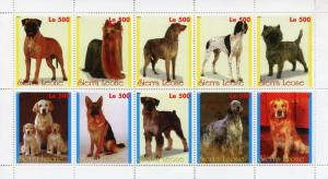 Sierra Leone MNH S/S Dogs 10 stamps 1998