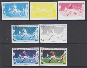 Bequia Sc 227 MNH. 1986 World Cup Soccer, Imperf Progressive Proofs XF