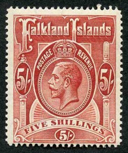 Falkland Island SG67 KGV 5/- Deep Rose-red wmk Mult Crown CA M/Mint