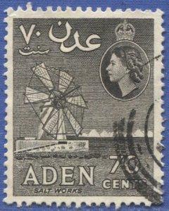 ADEN Arabian Gulf  1956 Sc 54a,Used VF, 70c Salt Works, gray, perf 12 x 13-1/2