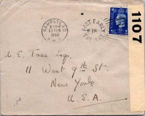 Hampstead UK > NYC NY 1940 censored WWII cover Tree