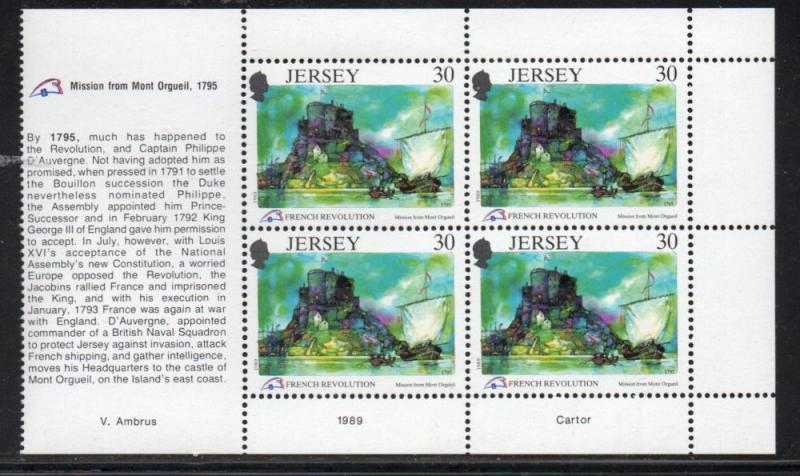 Jersey Sc 519a 1989 30p French Revolution stamp booklet pane mint NH