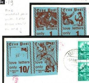 GB 1971 STRIKE POST SPAIN Covers{2} EROS HIGH VALUES £1 & 10s Pairs 43c.19