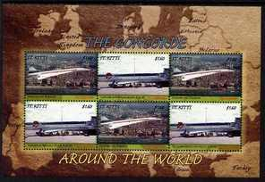 St Kitts 2007 Concorde Around the World perf sheetlet of ...