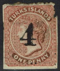 TURKS ISLANDS 1881 QV 4 ON 1D USED SPACEFILLER