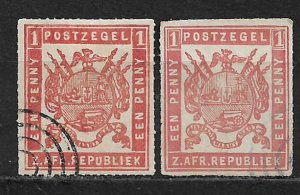 COLLECTION LOT OF 2 TRANSVAAL TYPE A1 ROULETTED STAMPS