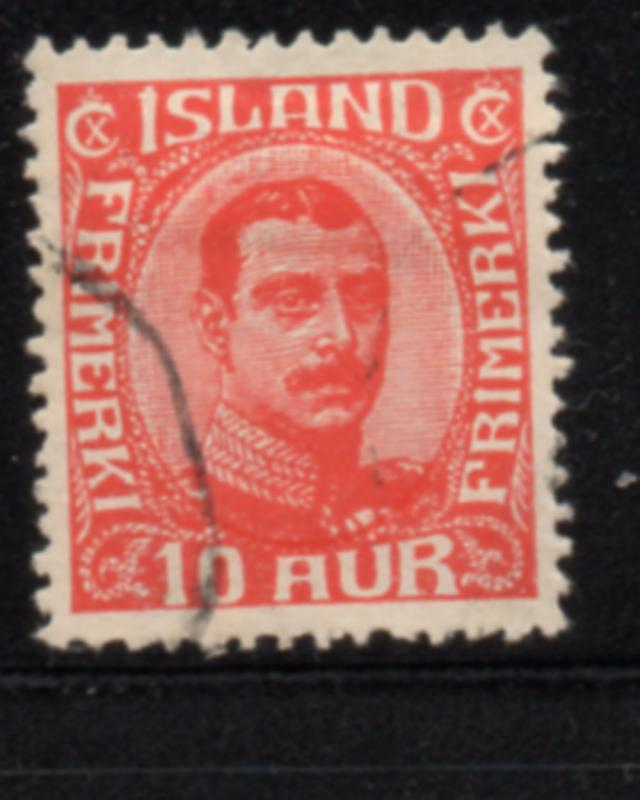 Iceland Sc 115 1920 10 aur red Christian X stamp used