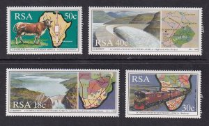 South Africa   #784-787  MNH  1990  maps and railway  water project