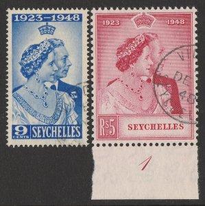 SEYCHELLES 1948 KGVI Silver Wedding 9c & 5R.