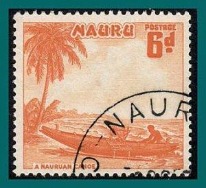 Nauru 1954 Canoe, 6d used  #43,SG52