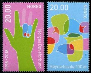 HERRICKSTAMP NEW ISSUES NORWAY Sc.# 1836-37 Sign Language
