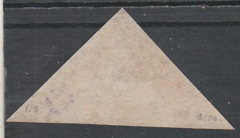 CAPE OF GOOD HOPE 1855 TRIANGLE 1D USED PERKINS BACON PRINTING