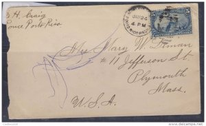O) 1899 PUERTO RICO, MILITARY STATION WITH 5 CENTS - FREMONT ON ROCKY MOUNTAIN