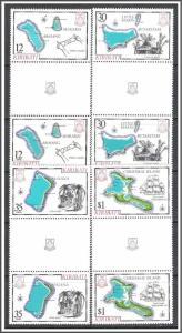 Kiribati #369-372 Island Maps Gutter Pairs MNH