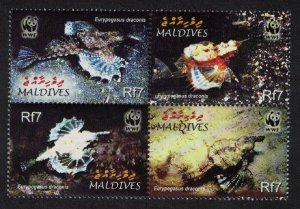 Maldives MNH 2839a-d Dragonfish WWF Marine Life 2004