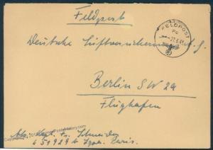 3rd Reich Germany 1943 Luftwaffe Feldpost Pc Cover LGPA Paris 55722