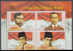 2002 Indonesia 2199-2202VB 100th Anniversary of Bung Hatta