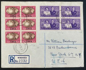 1955 Windhoek South West Africa Cover To New York Usa Leipzig Fair Label Seal