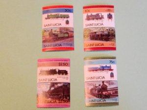 St. Lucia - 774-77, MNH Set. Locomotives (Pairs). SCV - $2.35