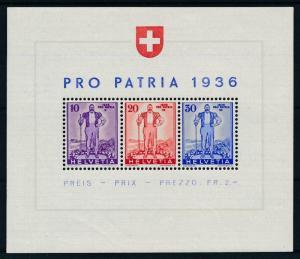 [97907] Switzerland 1936 Pro Patria Souvenir Sheet MNH