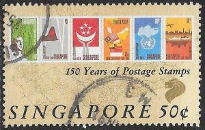 Singapore 563 Used - 1st Postage Stamps 150th Anniversary - Stamps
