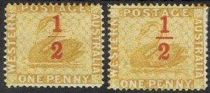WESTERN AUSTRALIA 1884 SWAN 1/2 ON 1D VARIETY THIN BAR AND NORMAL PERF 14